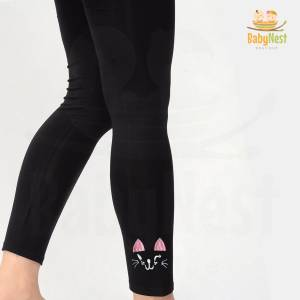 Black Embroidered Tights for Girl