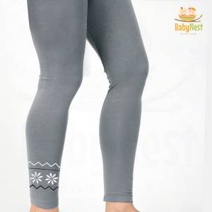 Grey Embroidered Tight for Girls