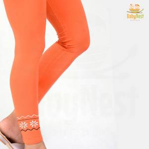 Orange Embroidered Tight for Girls