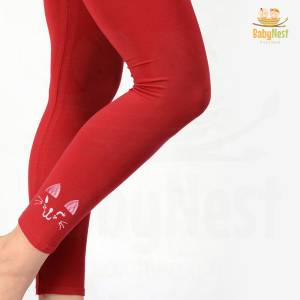 Red Cotton Legging for Girls