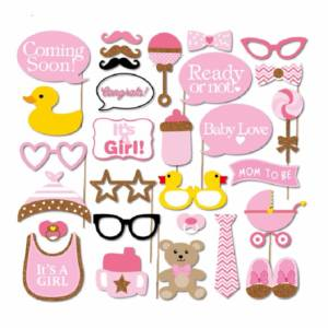 Baby Girl Shower Photo Booth Prop Kit